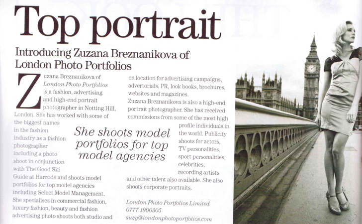London Photographer as featured in 'Absolutely Notting Hill' magazine