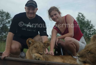 Clare and Arnaud with Lions