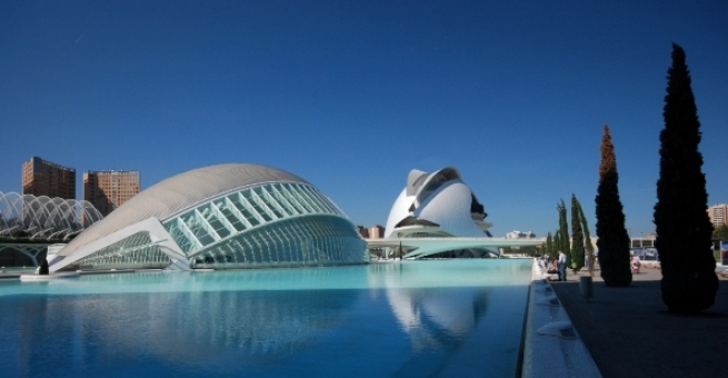 L'Hemisferic & The Opera House. City of Arts & Sciences. Valencia. Spain