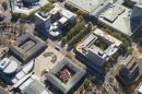 Civic Square, Ainslie Avenue, and Canberra Centre, City Centre, Canberra, ACT, Australia - aerial