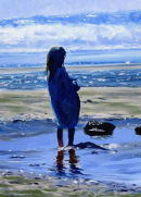 Girl watching incoming tide