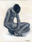 Nude girl sitting.