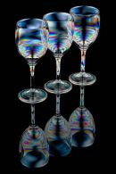 Three wine glasses full reflection