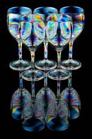 Five wine glasses full reflection