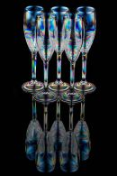 Five champagne glasses full reflection
