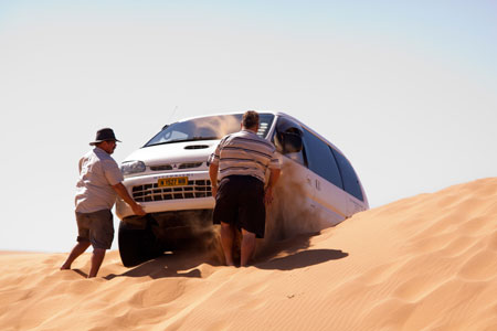 Spectacularly beached on the crest of the dune, giving Johannes and Francois a thorough sand shower.