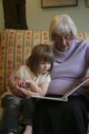 Great Grandma can't run about and play but she is always ready to read a story, many times over if need be.