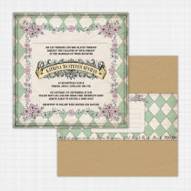 Alice in Wonderland Flat Card Invitation