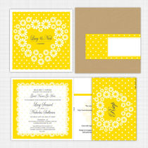 Daisy Folded Card Invitation with RSVP