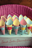 Dottie Vintage Stripe Seaside Confetti Cones and Stand A