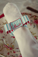 Dottie Vintage Stripe Seaside Napkin Bow Place Setting B