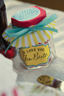 Dottie Vintage Stripe Seaside Sweety Jar Place Setting Favour A