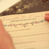 Dottie Vintage Sweethearts Wedding Quiz Sheet