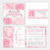 English Rose Folded Card with RSVP Invitation