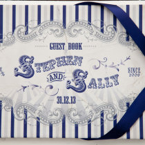 FUNFAIR Guest Book Navy & Silver