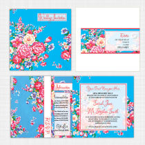 Vintage Floral Folded Card with RSVP