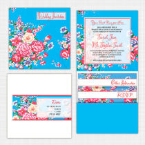 Vintage Floral Pocket Wallet Invitation