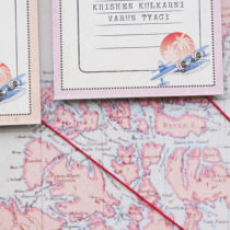 Vintage Travel Table Seating Plan E